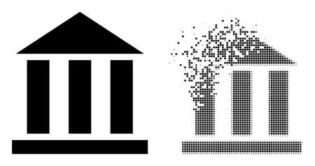 Dissolved dotted library office vector icon with destruction effect, and original vector image. Pixel disappearing effect for library office shows speed and movement of cyberspace objects. 向量圖像