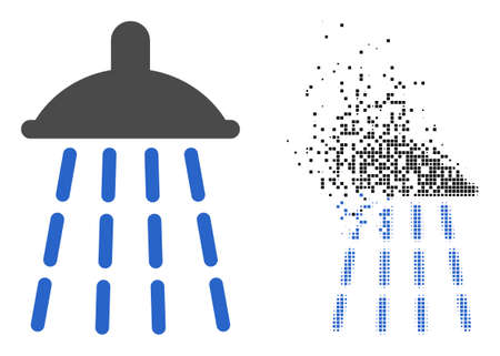 Dispersed dot water shower vector icon with destruction effect, and original vector image. Pixel disappearing effect for water shower demonstrates speed and motion of cyberspace abstractions. 向量圖像