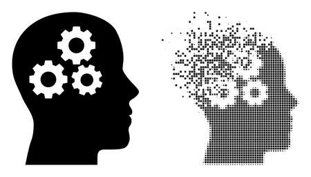 Dissolved dot brain gears vector icon with destruction effect, and original vector image. Pixel disappearing effect for brain gears shows speed and motion of cyberspace abstractions.