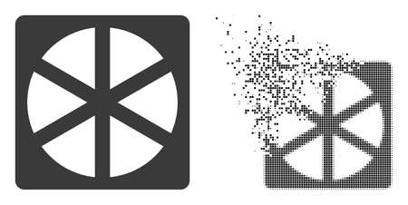 Dispersed dotted pizza box vector icon with wind effect, and original vector image. Pixel erosion effect for pizza box demonstrates speed and motion of cyberspace items.