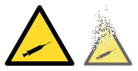 Fractured dotted syringe warning vector icon with wind effect, and original vector image. Pixel disintegration effect for syringe warning demonstrates speed and movement of cyberspace matter. 向量圖像