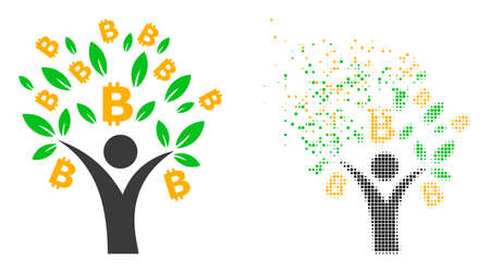 Dispersed dotted bitcoin tree man vector icon with destruction effect, and original vector image. Pixel disappearing effect for bitcoin tree man shows speed and motion of cyberspace items.