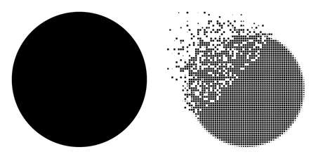 Dispersed dotted circle vector icon with destruction effect, and original vector image. Pixel disintegration effect for circle shows speed and movement of cyberspace items.