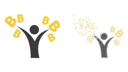 Fractured dotted bitcoin man vector icon with wind effect, and original vector image. Pixel fragmentation effect for bitcoin man shows speed and motion of cyberspace concepts. 向量圖像