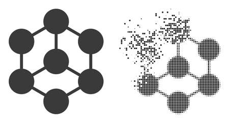 Dispersed dotted blockchain nodes vector icon with destruction effect, and original vector image. Pixel defragmentation effect for blockchain nodes demonstrates speed and motion of cyberspace items. 向量圖像