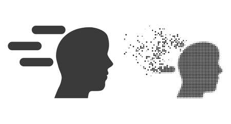 Dispersed dotted rush mind vector icon with destruction effect, and original vector image. Pixel dissolving effect for rush mind shows speed and movement of cyberspace things. 向量圖像