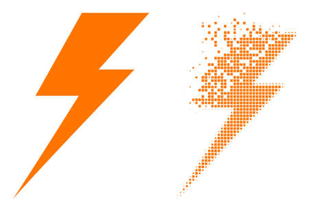 Dispersed dot electric strike vector icon with wind effect, and original vector image. Pixel dissipation effect for electric strike shows speed and motion of cyberspace items.