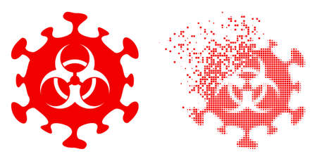 Dispersed dot biohazard coronavirus vector icon with wind effect, and original vector image. Pixel degradation effect for biohazard coronavirus demonstrates speed and movement of cyberspace items. 向量圖像