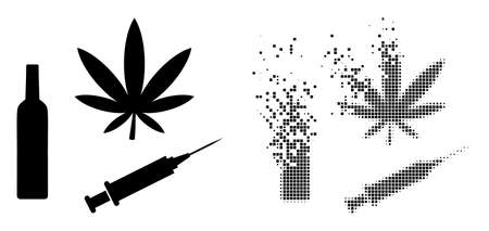 Dispersed dot narcotic drugs vector icon with destruction effect, and original vector image. Pixel burst effect for narcotic drugs demonstrates speed and movement of cyberspace things.