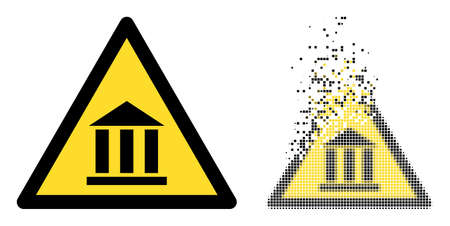 Dispersed pixelated bank warning vector icon with destruction effect, and original vector image. Pixel abrasion effect for bank warning shows speed and movement of cyberspace concepts. 向量圖像