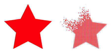 Dissolved dotted star vector icon with wind effect, and original vector image. Pixel disintegration effect for star shows speed and motion of cyberspace things. 向量圖像