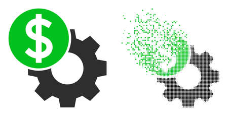Dissolved pixelated engineering price vector icon with destruction effect, and original vector image. Pixel defragmentation effect for engineering price shows speed and motion of cyberspace things.