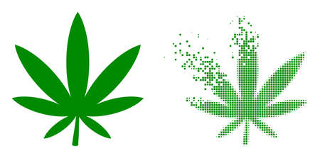 Dispersed dot marijuana vector icon with wind effect, and original vector image. Pixel dissipating effect for marijuana demonstrates speed and movement of cyberspace concepts.