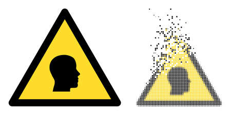 Dissolved dot man warning vector icon with destruction effect, and original vector image. Pixel defragmentation effect for man warning demonstrates speed and movement of cyberspace abstractions.