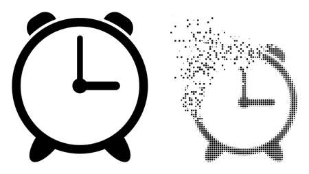Dissolved dotted alarm clock vector icon with destruction effect, and original vector image. Pixel destruction effect for alarm clock demonstrates speed and motion of cyberspace matter. 向量圖像