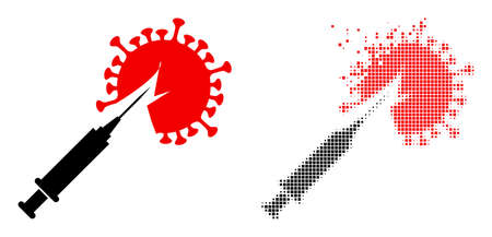 Dispersed dotted virus vaccine injection vector icon with destruction effect, and original vector image.