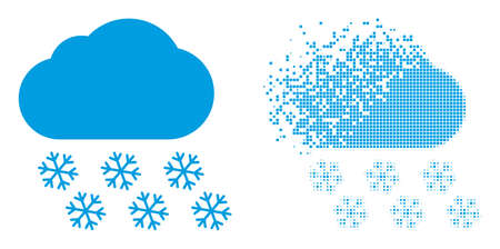 Fractured dotted snow cloud vector icon with destruction effect, and original vector image. Pixel destruction effect for snow cloud shows speed and motion of cyberspace things.