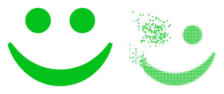 Dissolved dotted happy smile vector icon with wind effect, and original vector image. Pixel disintegration effect for happy smile shows speed and movement of cyberspace concepts.