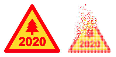 Dissolved dotted 2020 new year warning vector icon with wind effect, and original vector image. 向量圖像