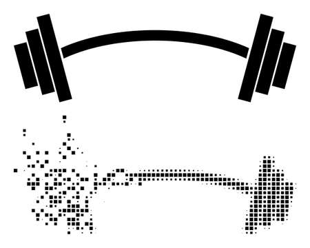 Fractured dotted heavy barbell vector icon with destruction effect, and original vector image. Pixel defragmentation effect for heavy barbell demonstrates speed and movement of cyberspace matter.