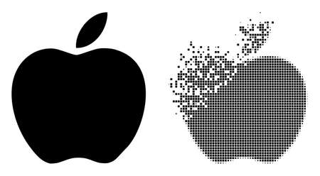 Fractured dot apple vector icon with wind effect, and original vector image. Pixel transformation effect for apple shows speed and motion of cyberspace matter.