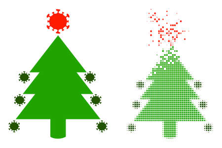 Dispersed pixelated coronavirus fir-tree vector icon with wind effect, and original vector image. Pixel destruction effect for coronavirus fir-tree shows speed and motion of cyberspace matter.