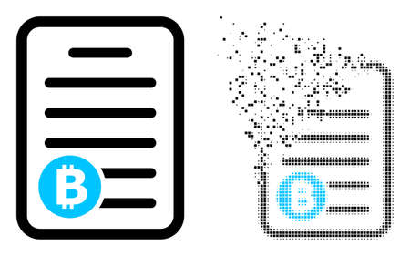 Fractured dotted bitcoin pricelist vector icon with destruction effect, and original vector image. 向量圖像