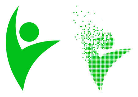 Dispersed dot eco man vector icon with wind effect, and original vector image. Pixel dematerialization effect for eco man demonstrates speed and movement of cyberspace abstractions.
