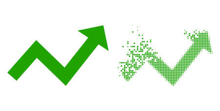 Dispersed dotted trend up arrow vector icon with destruction effect, and original vector image. Pixel degradation effect for trend up arrow shows speed and motion of cyberspace objects.