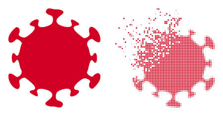 Dispersed dot covid virus vector icon with destruction effect, and original vector image. Pixel dissipation effect for covid virus shows speed and movement of cyberspace objects.