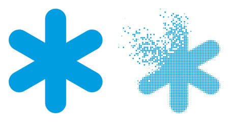 Fractured dotted simple snowflake vector icon with wind effect, and original vector image. Pixel dissipating effect for simple snowflake shows speed and motion of cyberspace objects.