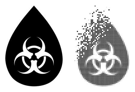 Fractured pixelated biohazard drop vector icon with destruction effect, and original vector image. Pixel destruction effect for biohazard drop shows speed and motion of cyberspace abstractions. 向量圖像