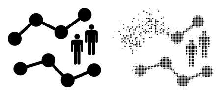 Dispersed dot audience charts vector icon with destruction effect, and original vector image. Pixel dissolving effect for audience charts shows speed and motion of cyberspace items.