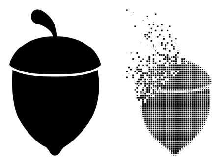 Dispersed dot oak acorn vector icon with wind effect, and original vector image. Pixel dust effect for oak acorn shows speed and motion of cyberspace objects. 向量圖像