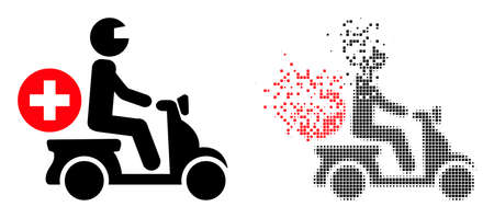 Dispersed dot doctor motorbike vector icon with destruction effect, and original vector image. Pixel degradation effect for doctor motorbike shows speed and motion of cyberspace matter.