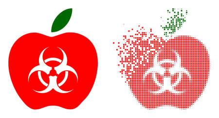 Dissolved dotted infected apple vector icon with destruction effect, and original vector image. Pixel destruction effect for infected apple demonstrates speed and motion of cyberspace things. 向量圖像