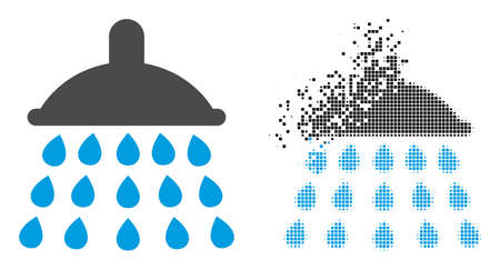Dissolved dot shower vector icon with wind effect, and original vector image. Pixel abrasion effect for shower shows speed and motion of cyberspace items. 向量圖像