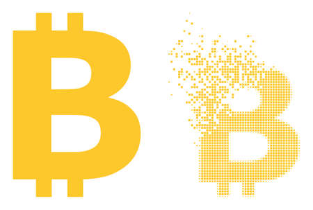 Fractured dotted bitcoin symbol vector icon with destruction effect, and original vector image. Pixel abrasion effect for bitcoin symbol shows speed and movement of cyberspace things. 向量圖像
