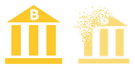 Dissolved pixelated bitcoin bank vector icon with destruction effect, and original vector image. Pixel destruction effect for bitcoin bank demonstrates speed and movement of cyberspace objects.