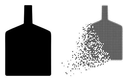 Dissolved dot wide bottle vector icon with destruction effect, and original vector image. Pixel destruction effect for wide bottle shows speed and motion of cyberspace items.