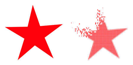 Dissolved dot star vector icon with wind effect, and original vector image. Pixel transformation effect for star shows speed and motion of cyberspace items.