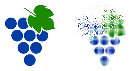 Dispersed dotted grape bunch vector icon with wind effect, and original vector image. Pixel dust effect for grape bunch demonstrates speed and movement of cyberspace items.