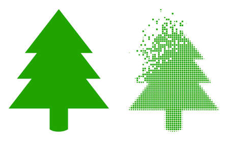 Fractured pixelated fir tree vector icon with wind effect, and original vector image. Pixel explosion effect for fir tree demonstrates speed and movement of cyberspace items.