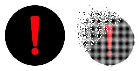 Dispersed dot danger exclamation vector icon with wind effect, and original vector image. Pixel dust effect for danger exclamation shows speed and motion of cyberspace items. 向量圖像