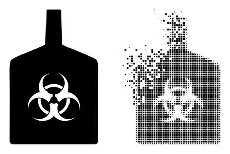 Dispersed pixelated biohazard bottle vector icon with wind effect, and original vector image. Pixel explosion effect for biohazard bottle shows speed and motion of cyberspace abstractions. 向量圖像