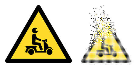Dissolved dotted motorbike danger vector icon with destruction effect, and original vector image. Pixel destruction effect for motorbike danger shows speed and motion of cyberspace items. 向量圖像