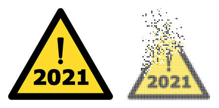 Dispersed pixelated 2021 year warning vector icon with wind effect, and original vector image. Pixel erosion effect for 2021 year warning demonstrates speed and motion of cyberspace items.