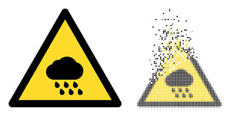 Fractured dot rain warning vector icon with destruction effect, and original vector image. Pixel disappearing effect for rain warning demonstrates speed and motion of cyberspace abstractions.