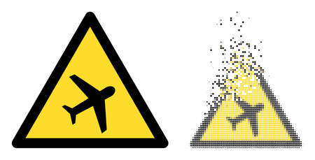 Dissolved dot airplane warning vector icon with destruction effect, and original vector image. Pixel destruction effect for airplane warning demonstrates speed and movement of cyberspace objects. 向量圖像