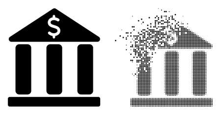 Dispersed dot bank building vector icon with wind effect, and original vector image. Pixel disappearing effect for bank building demonstrates speed and motion of cyberspace things.